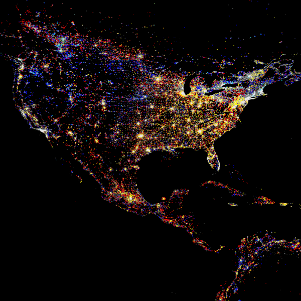 Photo: North America at night, showing the change in illumination from 1993-2003. This data is based on satellite observations. Lights are colour-coded. Red lights appeared during that period. Orange and yellow areas are regions of high and low intensity lighting respectively that increased in brightness over the ten years. Grey areas are unchanged. Pale blue and dark blue areas are of low and high intensity lighting that decreased in brightness. Very dark blue areas were present in 1993 and had disappeared by 2003. The USA and Canada show increases in brightness, and Mexico shows many new lights, reflecting its urbanisation.