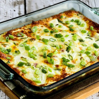 Karyn's Breakfast Casserole Recipe with Artichokes, Goat Cheese, and Canadian Bacon.