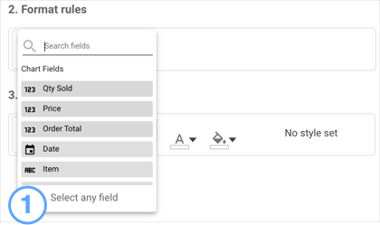 Format rules showing Select any field option,.