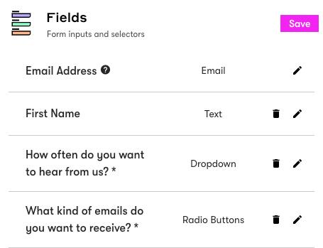 Subscription management form fields.