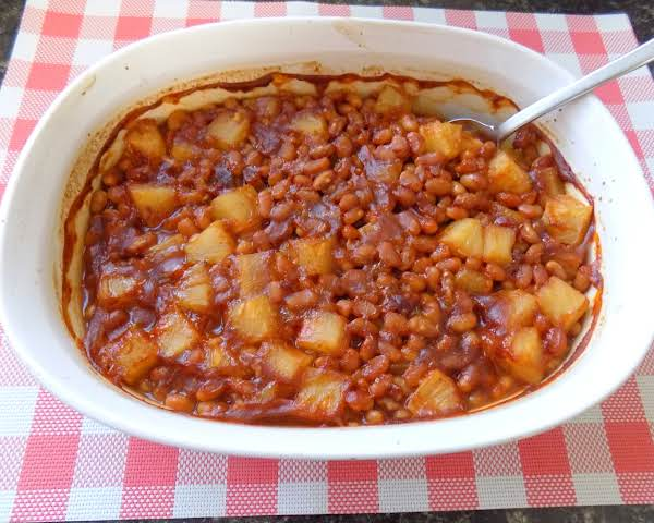 Pineapple Baked Beans In Casserole Dish