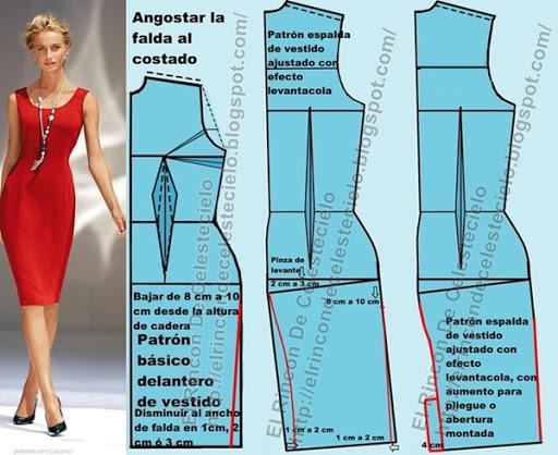 Patrones para vestido con pinzas, manga sisa, escote en U, falda ajustada y efecto levantacola