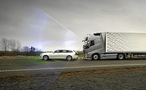 Autonomous Emergency Braking is a real accident prevention feature. Picture: VOLVO TRUCKS