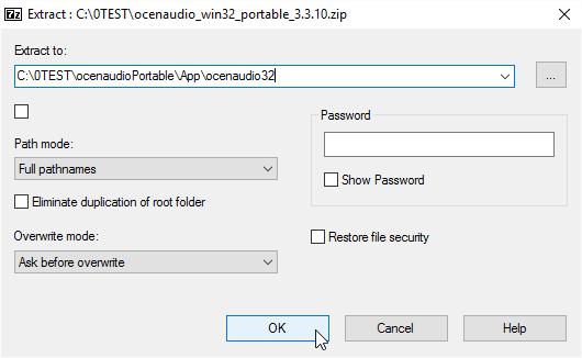 Extract to App\ocenaudio32[64]