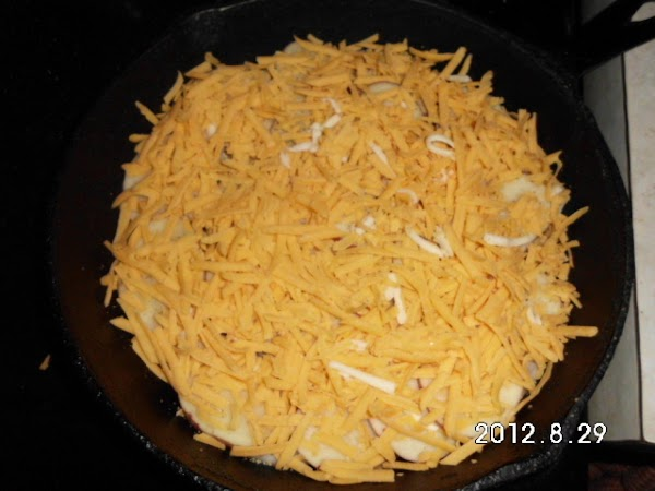Then a generous layer of cheddar.