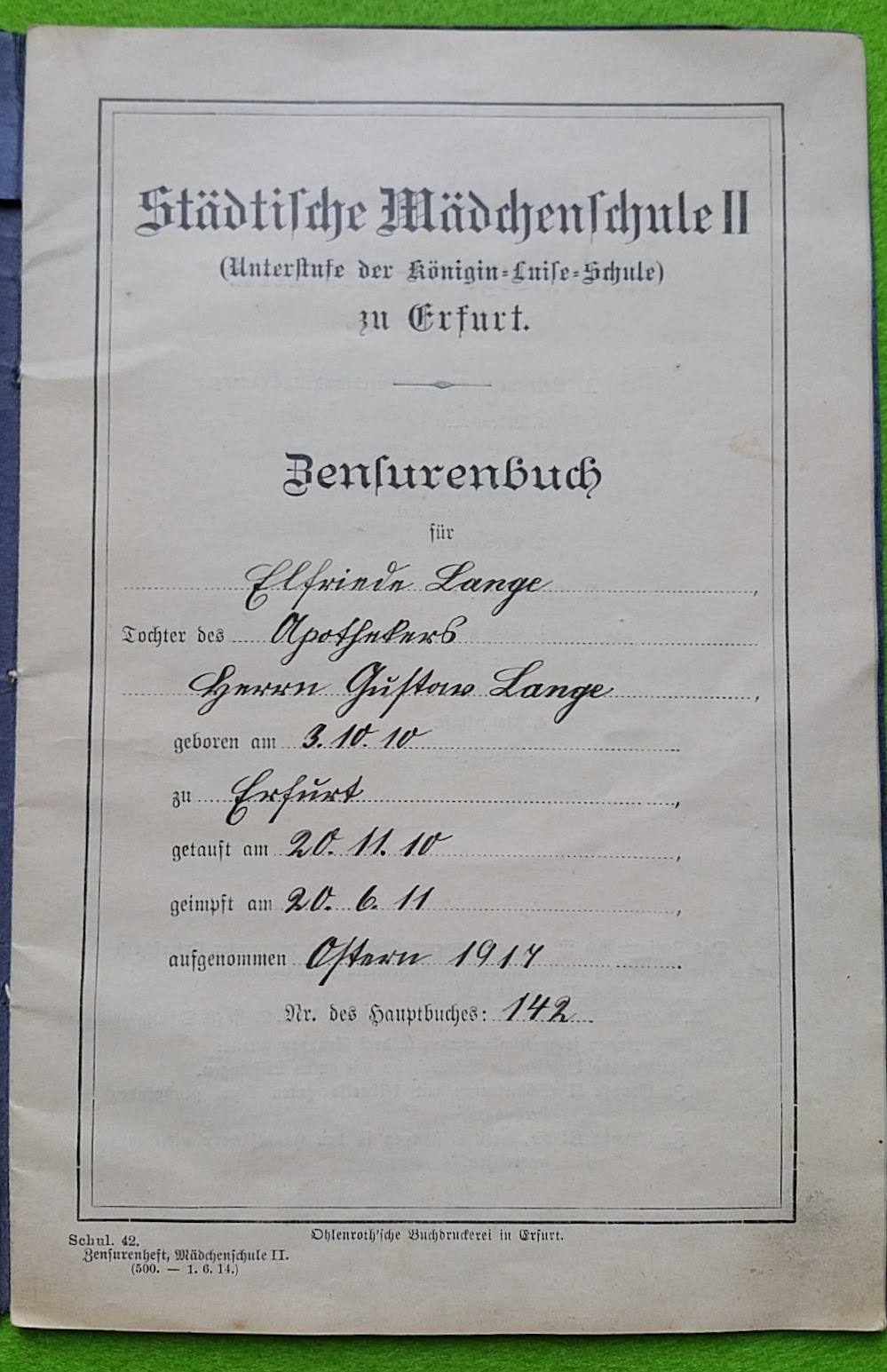 Zeugnis - Zensurenbuch Elfriede Lange 1917 bis 1923