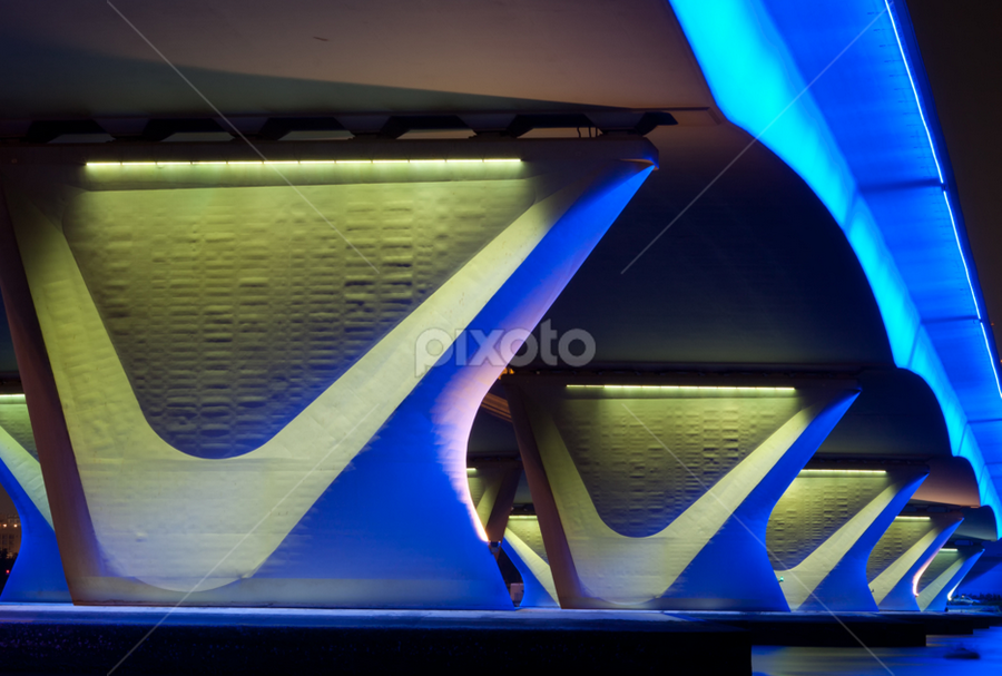 by Marwin Javier - Buildings & Architecture Architectural Detail ( pattern, blue, night, architecture, bridge )
