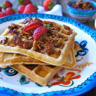 Gluten-Free Buttermilk-Banana Waffle Recipe and Cinnamon-Honey Almonds