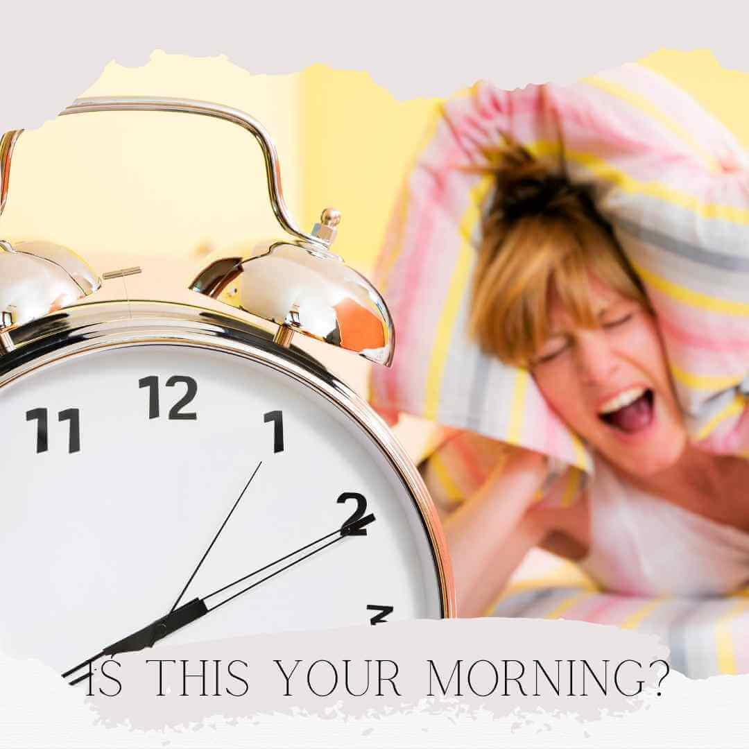 How to Create a Morning Routine. Is this Your Morning? Woman with alarm clock.