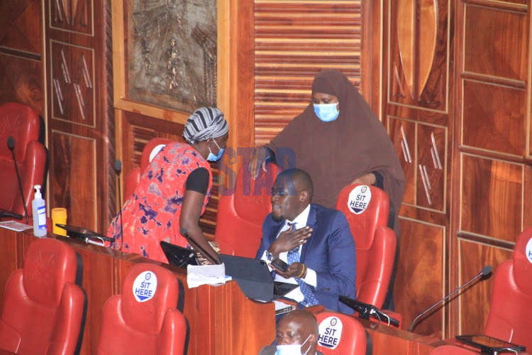 Beatrice Wayeko offers groundnuts to Nairobi Senator Johnson Sakaja during the BBI public participation in parliament on March 11, 2021.