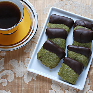 Chocolate-dipped Green Tea Shortbread Cookies.