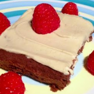 Vegan Protein Brownies with Vanilla Protein Icing.