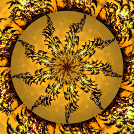 Feathery Wheel 1 by Tina Dare - Digital Art Abstract ( kaleidoscope, pattern, golden, yellow, abstract, backlit )