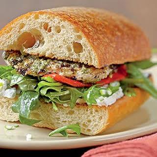 Pesto Chicken Sandwich with Arugula.