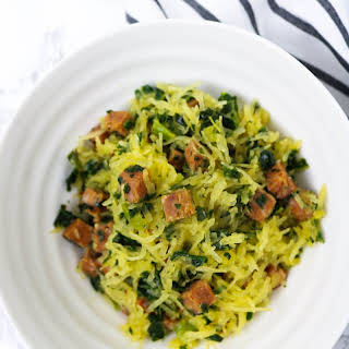 Spaghetti Squash with Chorizo + Spicy Greens.
