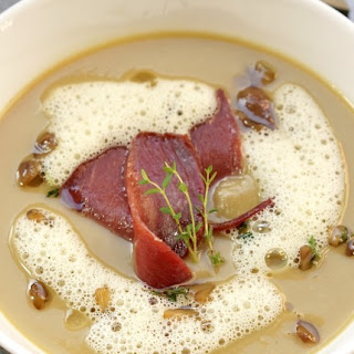 Chestnut Soup with Smoked Wild Duck Breast and Orange Foam.