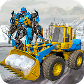 Snow Excavator Crane Robot Transformation Game