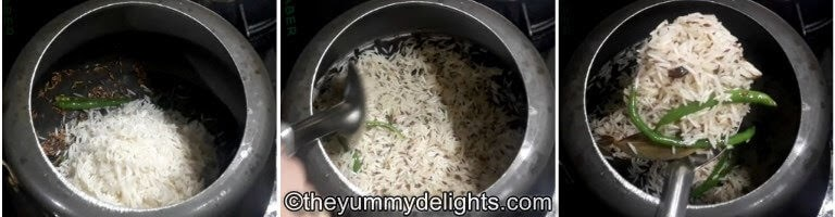 fry the rice for 2 minutes to make jeera rice in pressure cooker