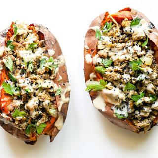 Turkey n' Tahini Stuffed Sweet Potatoes.