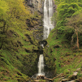 Pistyll Rhaeadr Waterfall by Michael Topley - Landscapes Mountains & Hills ( water, uk, rockface, wales, waterfall, pistyll rhaeadr waterfall, slow shutter )