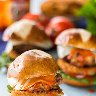 Fried Chicken Buffalo Pretzel Sliders