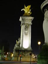 Photo: One of the illuminated bridge towers of the Pont des Invalides.