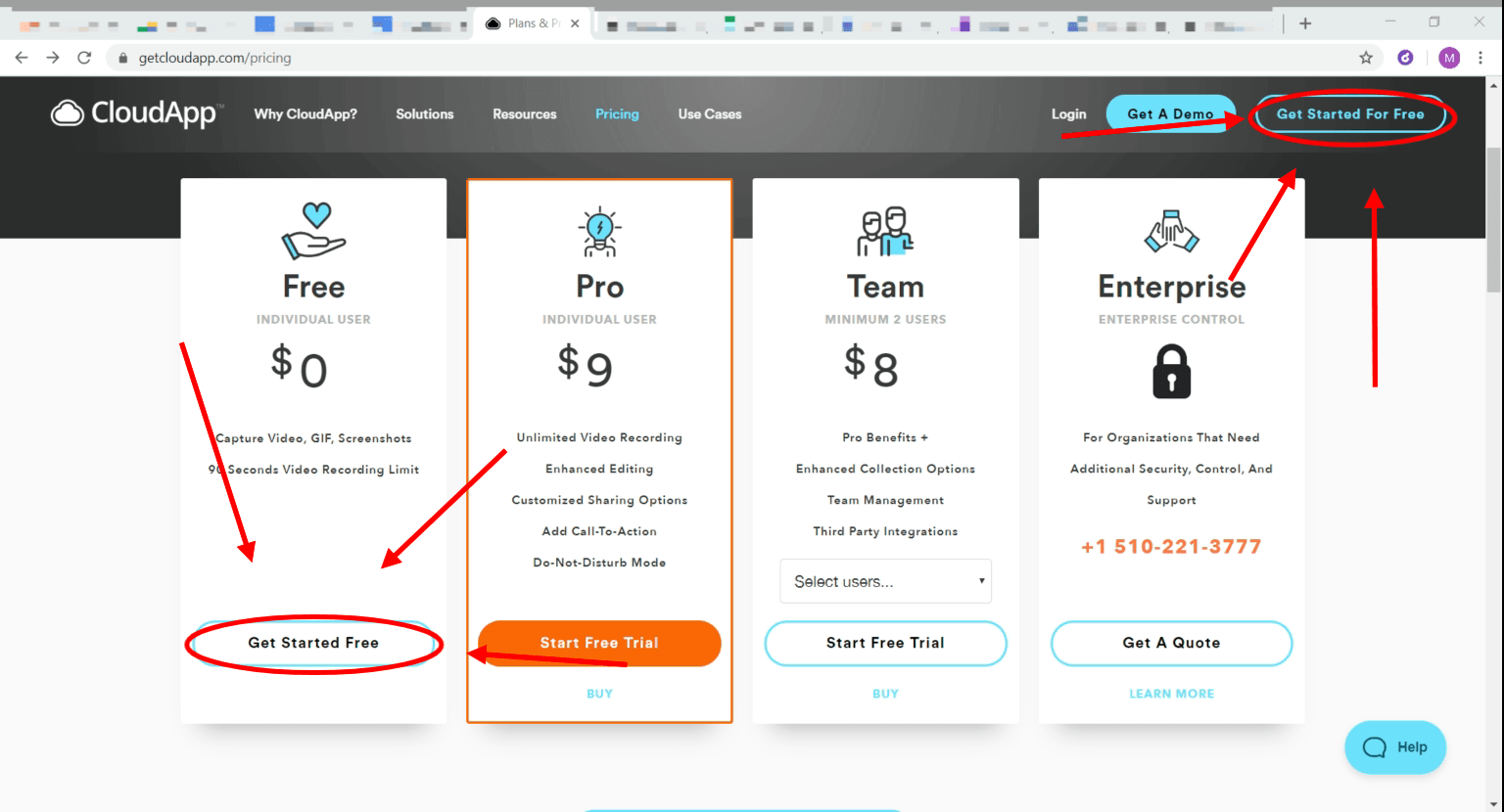 cloudapp pricing page with get started for free circled in red