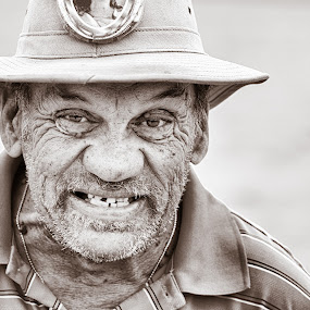 Faces of Sailfest 2016 #1 by Hiram Christian - People Street & Candids ( black and white, sailfest, man, portrait, street photography )