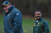 A file photo of Os du Randt and Peter de Villiers during the South African rugby team field training session and team announcement at Peffermill Sports Complex on November 16, 2010 in Edinburgh, Scotland.