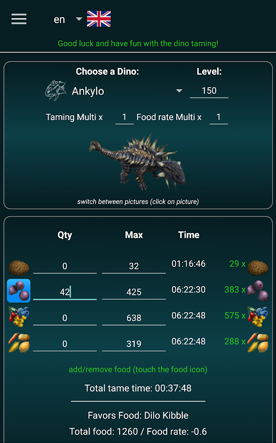 A-Calc taming calculator for Ark Survival Evolved- screenshot
