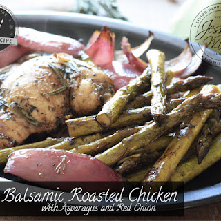 Balsamic Roasted Chicken with Asparagus & Red Onion - Paleo