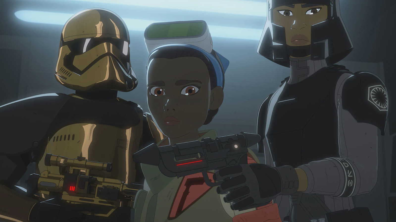 Tam Ryvora is standing next to two soldiers in the First Order.
