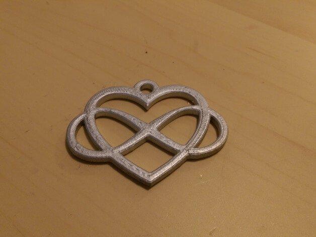 3D модель кулон сердце бесконечности