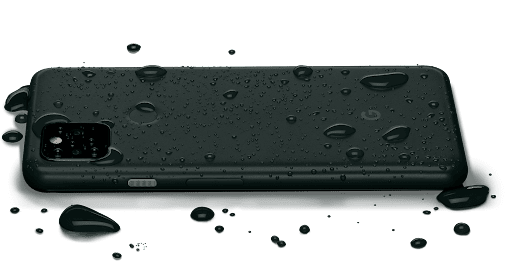 Pixel 5a with 5G is covered in water droplets to show its water resistance.