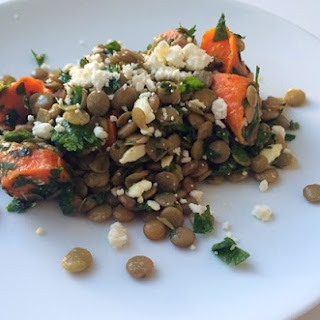 Lentil and Carrot Salad with Parsley, Cilantro, Mint and Feta
