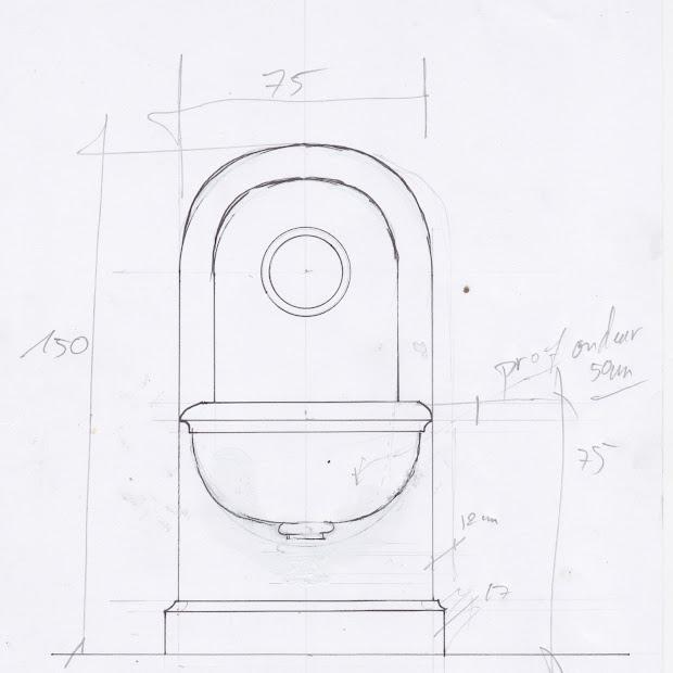 Croquis préalable à la réalisation de la fontaine en pierre de taille pour un jardin privé