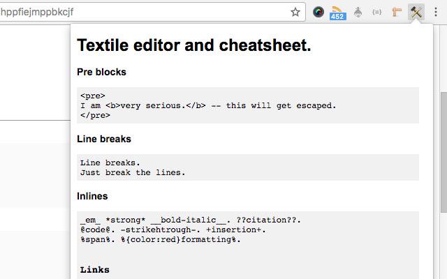 Textile editor and cheatsheet