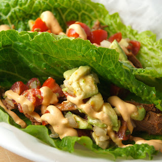 Blackened Steak Lettuce Wraps with Chipotle Lime Sour Cream.