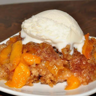 Crispy Crust Peach Cobbler with Vanilla Ice Cream