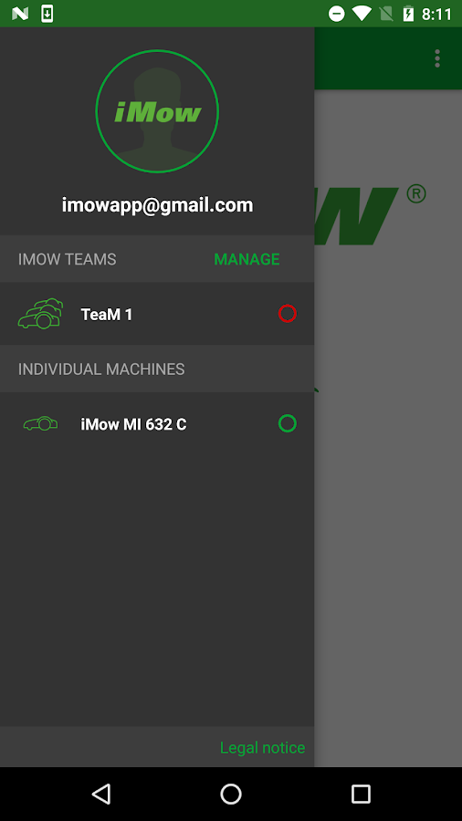 VIKING iMow App- screenshot