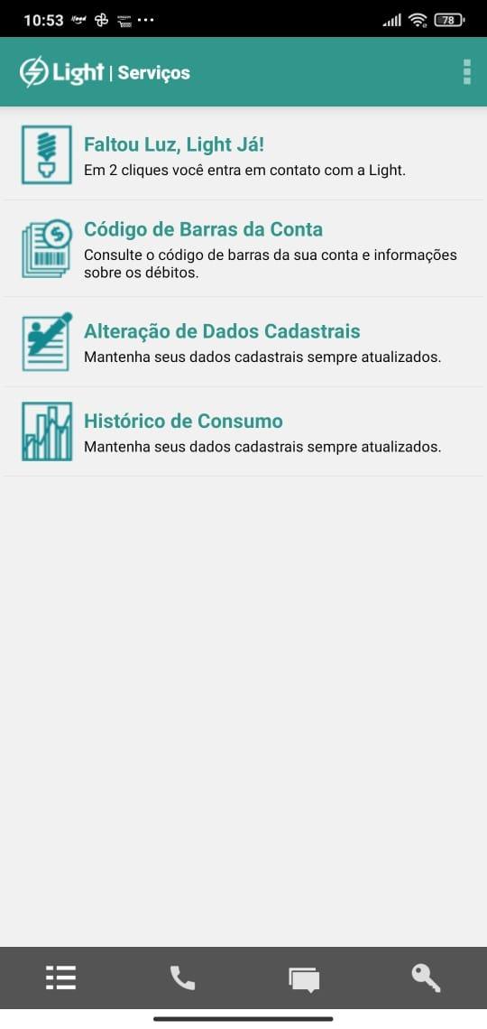 avisar faltou luz pelo app light clientes