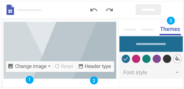 Options to change image, header type, theme, and font style mapped