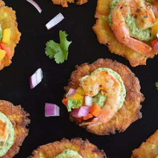 Tostones with Grilled Shrimp, Creamy Chimichurri and Mango Salsa