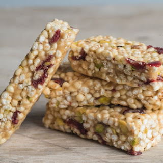 Chewy Cranberry, Millet and Pistachio Bars.