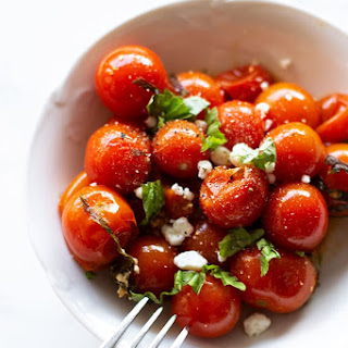 Smoked Cherry Tomatoes with Basil and Goat Cheese.
