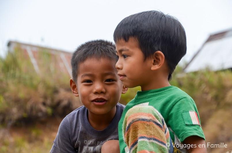 Maligcong, balade rizières, enfants