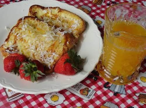 """Pina Colada French Toast & Orange Syrup""""Since having a Pina Colada for..."""