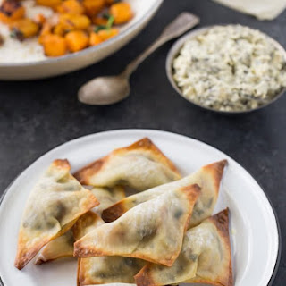 Butternut Squash and Spinach Stuffed Wontons.