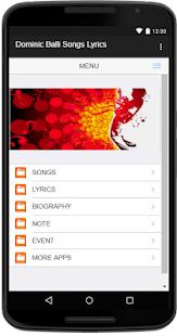 Dominic Balli Songs Lyrics - náhled