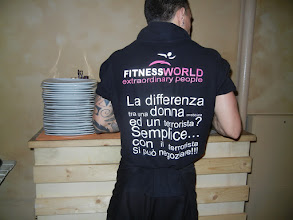 Photo: Sexist t-shirt worn by a waiter at Vicolo Pizza and Vino, which is where we got the amazing pizza